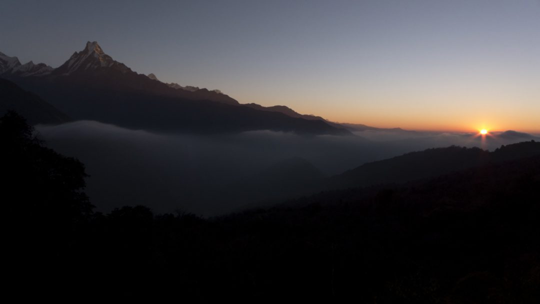 Happy New Year 2014, Sunrise in Tadapani, Nepal